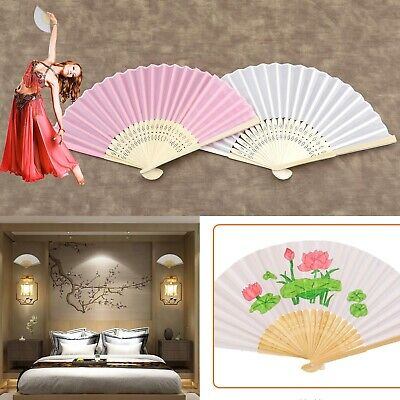 12x White/Pink Hand Held Fan Folding Bamboo Paper Wooden Wedding Events