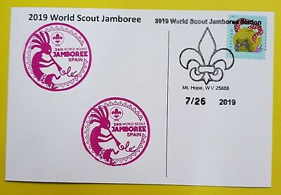 24th world scout jamboree 2019  Postmark on USPS official postcard and SPAIN