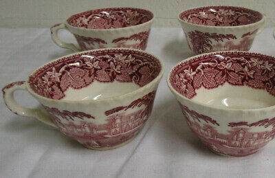 masons/mason's vista pink/red lot of 5 cups