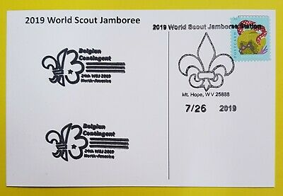 24th world scout jamboree 2019  Postmark on USPS official postcard and BELGIUM