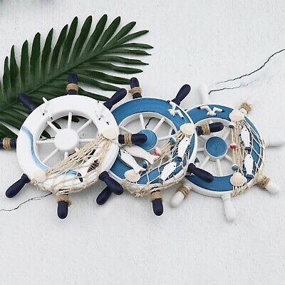 Wooden Nautical Steering Wheel Ship Beach Home Interior Decoration