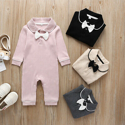 UK Newborn Baby Girl Long Sleeve Knitted Bow Doll Collar Jumpsuit Winter Clothes