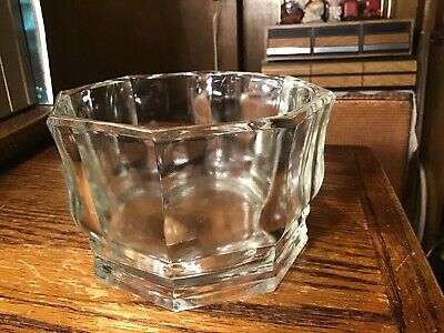 Antique Art Deco Pressed Glass Champagne Ice Bucket Coaster Barware 8 Sided Bowl