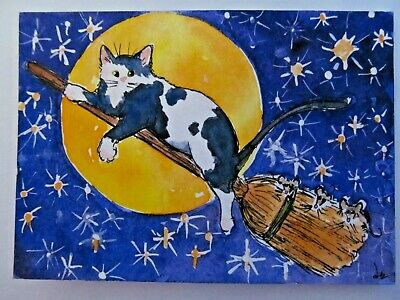 ACEO Original Watercolor India Ink Cat Mice Broomstick Riding Moon Stars D Every