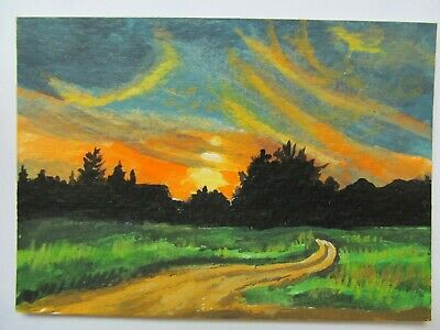 ACEO Original Acrylic Painting Landscape Playful Sunset by Artist Joan Hutson