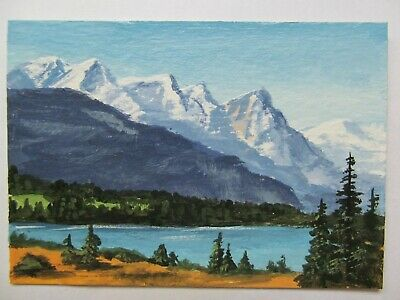 ACEO Original Acrylic Painting Landscape Mountain Vista by Artist Joan Hutson