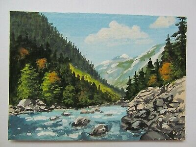 ACEO Original Acrylic Painting Landscape Cold Mountain River by Joan Hutson