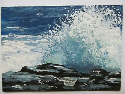 ACEO Original Acrylic Painting Landscape Ocean Sea Crashing Waves by Joan Hutson