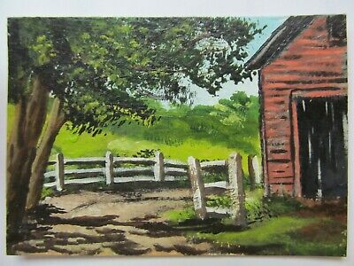 ACEO Original Acrylic Painting Landscape Barn Fence Old Barnyard by Joan Hutson