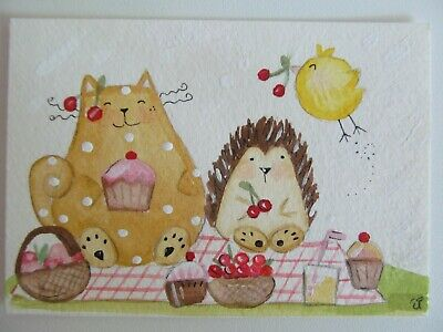 ACEO Original Watercolor Happy Cat Little Bird Hedgehog Picnic June Elisa Fermo