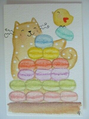 ACEO Original Watercolor Happy Cat Little Bird Macarons Pastel Cookie by E Fermo