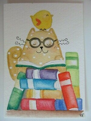 ACEO Original Watercolor Happy Cat Little Bird Books Read Library by Elisa Fermo
