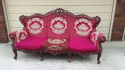 Beautiful French Louis Burgundy Patterned Ornately Carved Mahogany 3 Seater Sofa