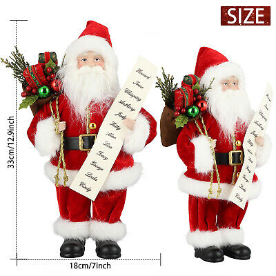 "18"" Traditional Standing Father Christmas Santa Claus Figure Xmas Decoration UK"