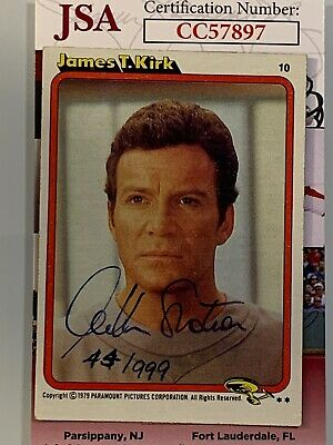 William Shatner Auto/Autographed 1979 Topps Star Trek Card 44/999 Jsa Cc57897