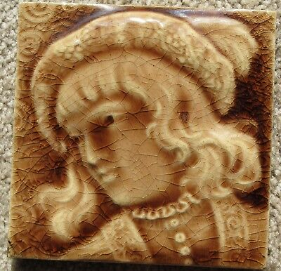 """Antique Victorian American Trent Tile """"Renaissance Youth"""" Majolica Isaac Broome?"""