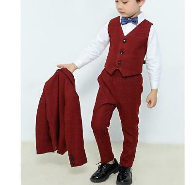 3 Piece Kids Boys Check Suits Wedding Suit Prom Page Boy Formal Party Suits Sets