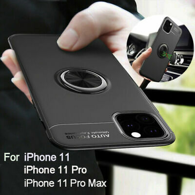 For iPhone 11 Pro Max Slim Hybrid TPU Car Magnetic Rugged Stand Case Cover