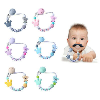 Lovely Baby Silicone Pacifier Clip Teething Toy Chain Bead Bracelet Soother New