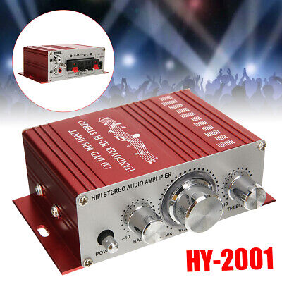 12V 2Ch Mini HiFi Power Amplifier Stereo Audio AMP for Motorcycle Car Home MP3