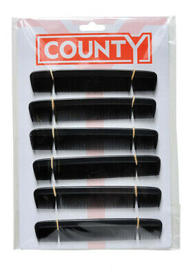 Mens Black Hair Combs 6 Inch Pack Of 12 Free Post