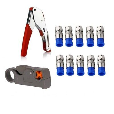 Coax Cable Crimper Kit Tool for Rg6 Rg59 Coaxial Compression Tool Fitting W V1O9