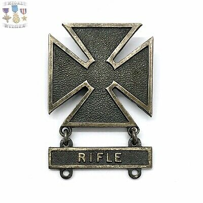 Wwii Us Army Marksman Badge Rifle Bar Sterling Silver Vintage Ww2 Mb#6