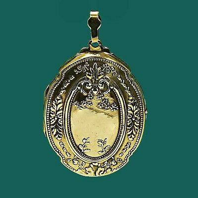 Very Large Vintage Gold Inspired Locket - Antique Design Double Sided - 2 Photos