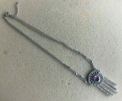 Solid silver and amethyst and marcasite Art Deco style necklace