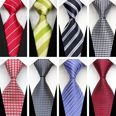 Blue Black Red Green Purple Grey Wedding Stripe Plaid Necktie Silk Men's Tie UK❤