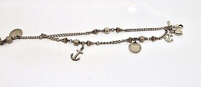 A Lovely Antique Victorian Sterling Silver Albertina Albert Chain with Charms