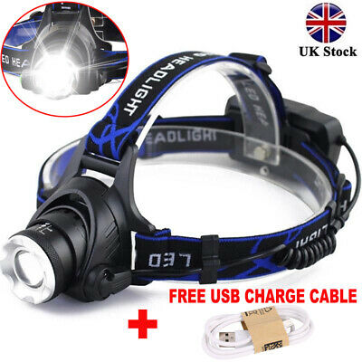 350000LM T6 LED Headlamp Headlight Head Torch Light Zoomable Focus Rechargeable