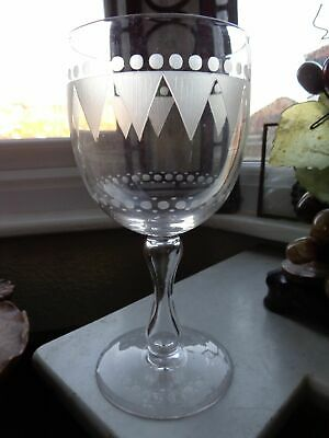 19thc EARLY VICTORIAN ENGRAVED GLASS / DRINKING GLASS BUBBLE EGG TIMER STEM