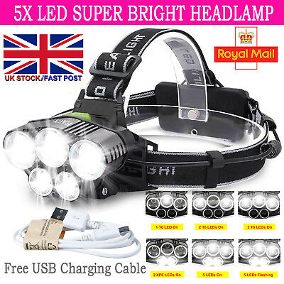 T6 30000LM 5X LED Headlamp Rechargeable Hiking Headlight Fishing Head Torch Lamp