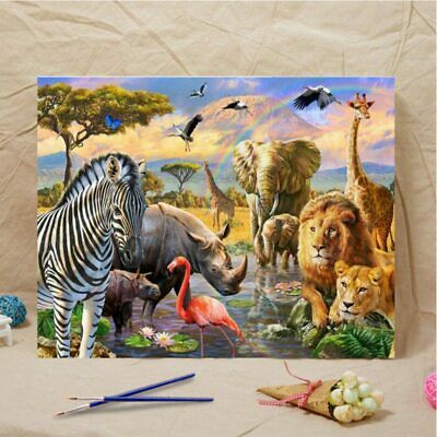 Easy Paint By Number DIY Oil Painting Kit Animal Art Wall Home Decor 40*50CM AU