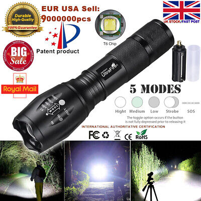 Bright LED Torch Rechargeable Flashlight Police Tactical Zoom Camping Lamp 18650