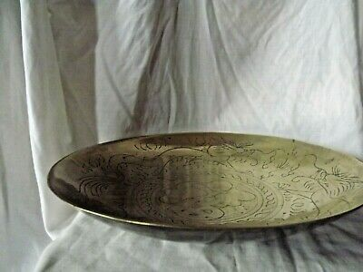 Large Heavy Vintage Chinese Shallow  Brass Bowl Incised with Two Dragons
