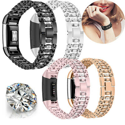 Crystal Strap For Fitbit Charge 2 Stainless Steel Watch Band Wristband