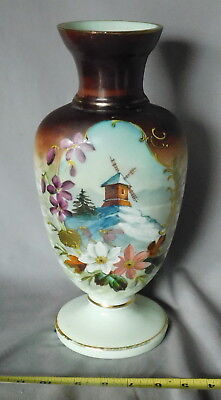 Antique Bristol glass vase hand painted dutch windmill flowers gilded snow gold