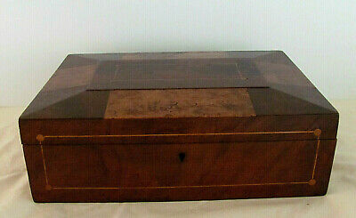 Antique Shaker Inlaid Panel Burl Wood Document/Sewing Box w/Original Tray