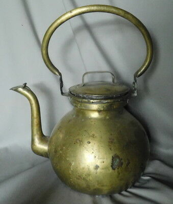 Large antique brass tea kettle teapot swing handle lid snake hand forged 19th c