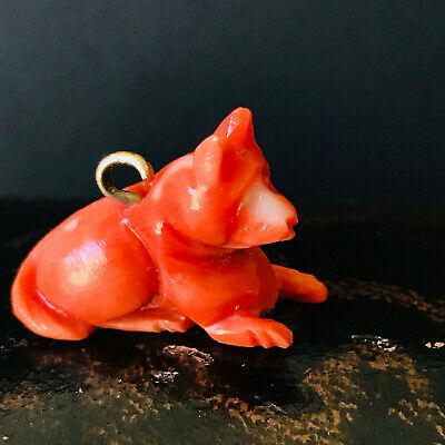 Victorian 14ct, 14k, 585 gold Dark Red Coral carved Dog Charm 2.8 gms, C1880
