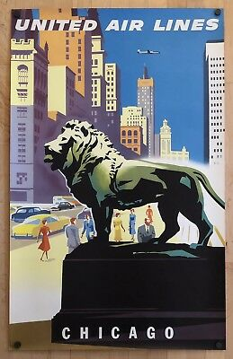 """Original Vintage Poster UNITED AIR LINES - CHICAGO Airline Travel UAL 25"""" x 40"""""""