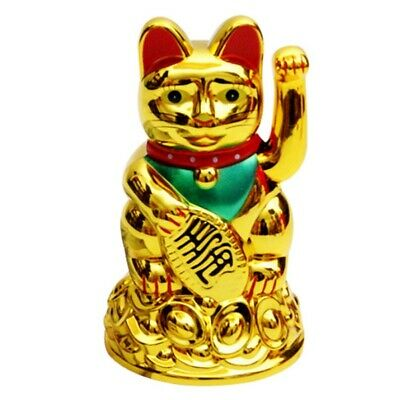 "Maneki Neko Beckoning Cat Gold Wealth Lucky Charm Waving Kitty Feng Shui 4"" Tall"