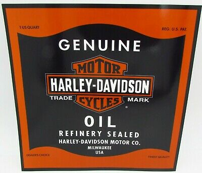 Harley Davidson Motorcycles Oil Can Bar & Shield Large Sticker Decal 10 1/2""