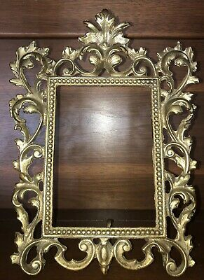 Antique 5x7 French Rococo Ornate Brass Hinged Frame Gilt Gold