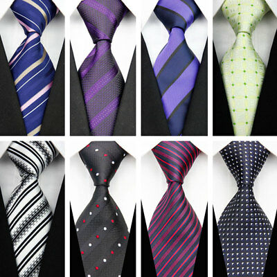Grey Black Red Blue Purple Men's Wedding Stripe Paisley Dots Necktie Silk Tie UK