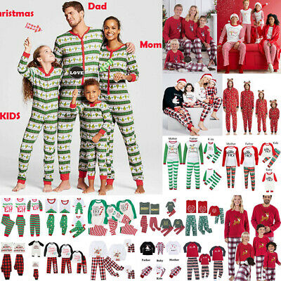 Family Matching Christmas Pyjamas PJS Set Elf Xmas Sleepwear Nightwear Casual