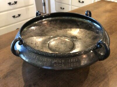 """Antique Wallace Bros Silver Co. V1234 1928 Lake View Trophy 12"""" Wide"""