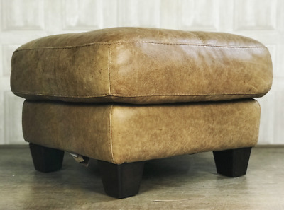 DFS Tan Brown Leather Footstool / Ottoman - Caesar Aniline Leather